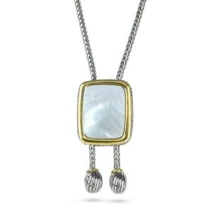 """Mother of Pearl Silver 30"""" Bolo Tie Necklace"""